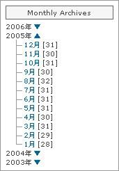 JavaScript 不要な月別アーカイブの年別ツリー化+折りたたみ