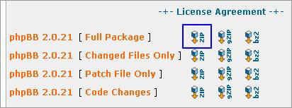 phpBBダウンロードパッケージを選択