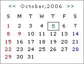 休日表示付リアルタイムカレンダー