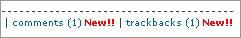 新着コメント・新着トラックバックのある投稿者情報に New マークをつける
