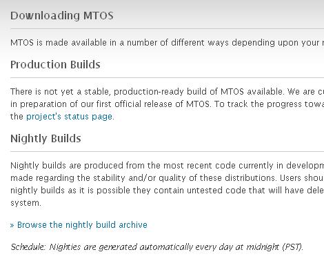 Downloading MTOS