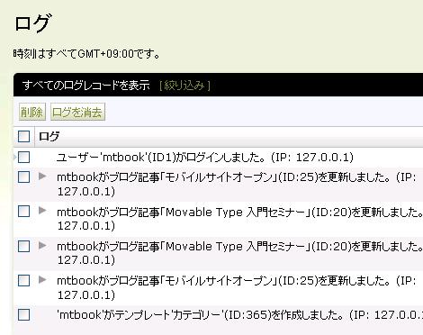 Movable Type のログ(プラグイン適用後:システムログ)
