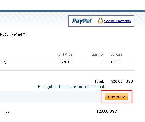 PayPal の購入ページ