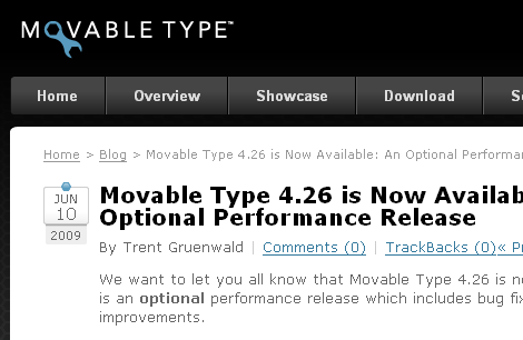 Movable Type 4.26 リリース