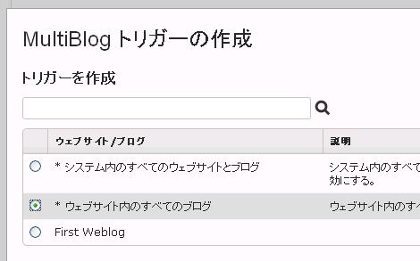 MultiBlog の再構築トリガー設定の対象