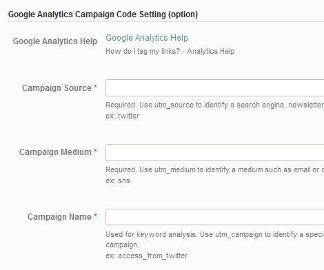 Google Analytics Campaign Code Setting