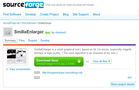 SourceForgeのSmillaEnlargerのページ