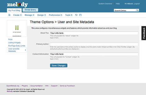 ユーザーとサイトのメタデータを設定するオプション画面