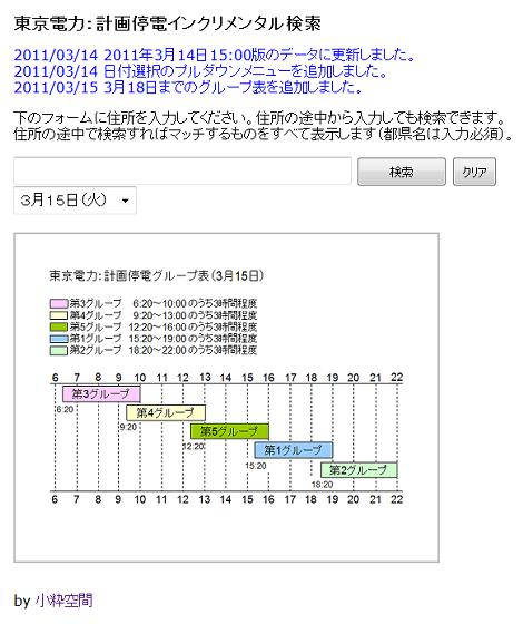 東京電力 計画停電インクリメンタル検索