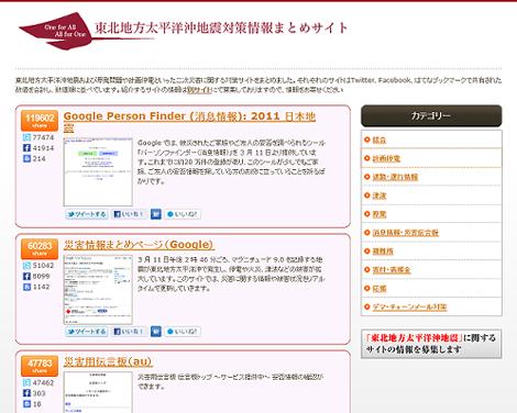 東日本大震災・東北関東大震災関連のまとめサイト