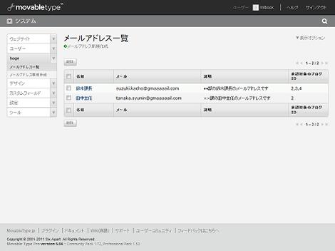 Movable Type 5.0のメールアドレス一覧画面
