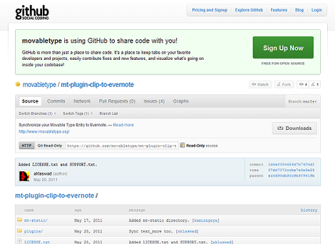 githubのmt-plugin-clip-to-evernoteのページ
