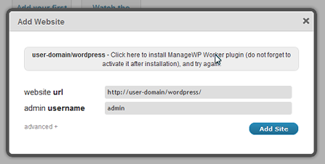 Click hire to install ManageWP Worker plugin