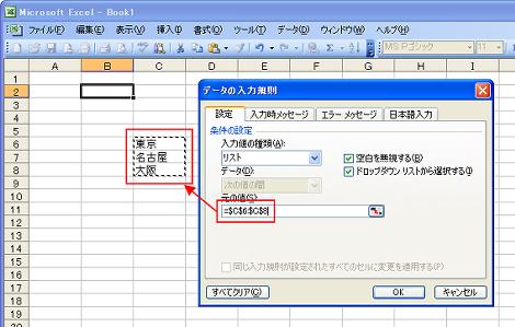 データの入力規制画面
