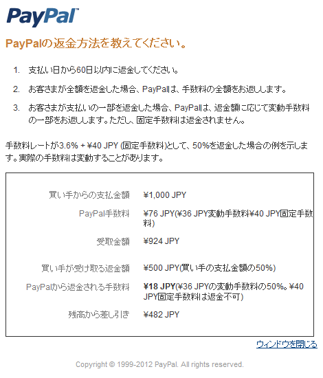 PayPalの返金方法