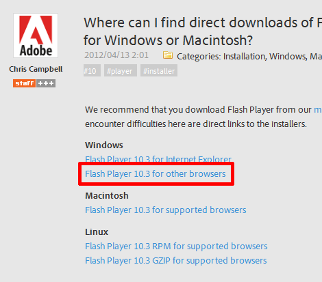 Where can I find direct downloads of Flash Player 10.3 for Windows or Macintosh?