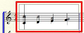 符尾の向きを変えたい小節をクリック