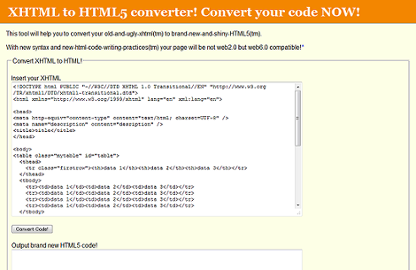 XHTML to HTML5 converter!