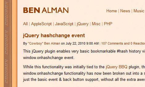 jQuery hashchangeプラグイン
