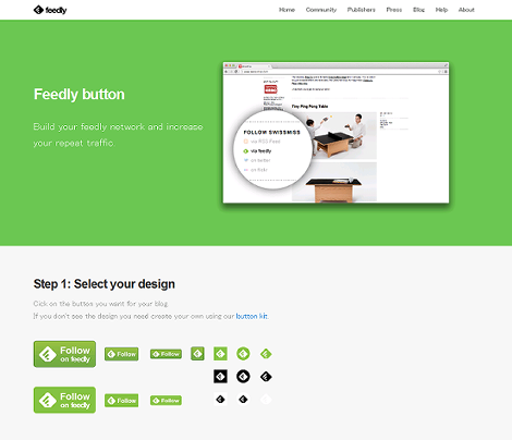 「feedly button」のページ