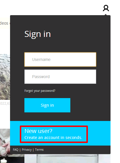 Create an account in seconds.