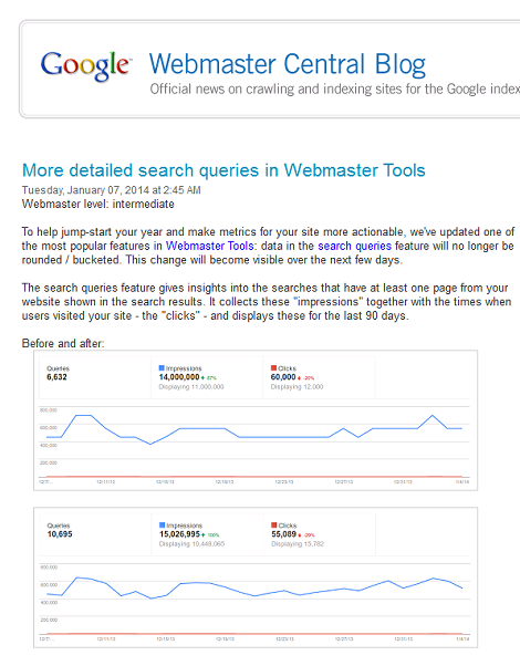 More detailed search queries in Webmaster Tools