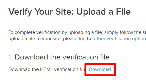 Verify You Site: Upload a File
