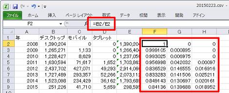 それぞれのデバイスの割合をF列~H列のセルに表示