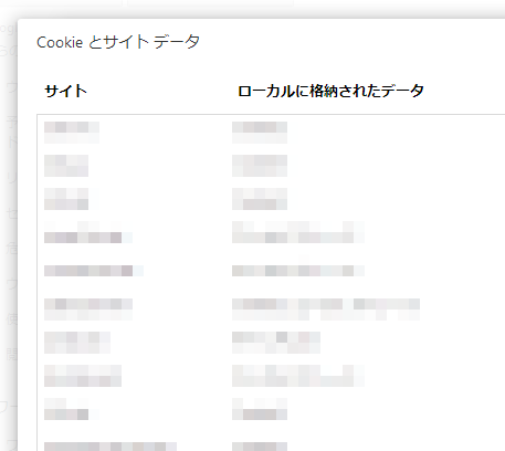 Cookieの一覧