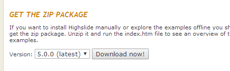 Highslide JS ダウンロードバージョン選択