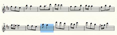 複数の小節を前の組段へ移動
