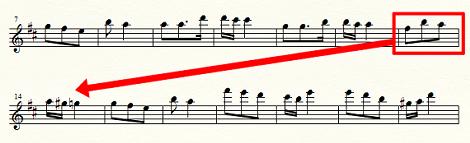 13小節目を次の段の最初に移動