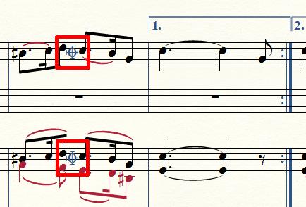 楽譜にコーダマークが表示