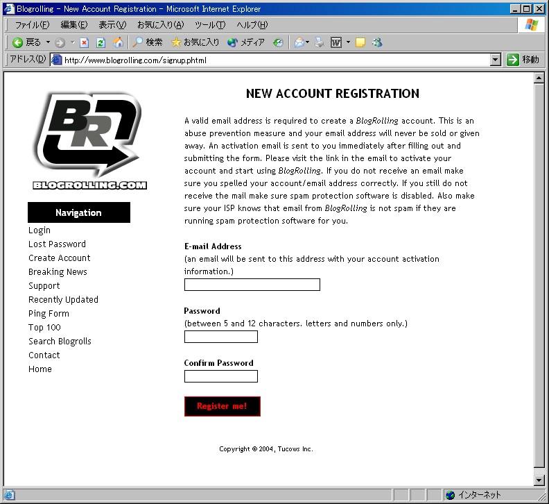 「Register me!」をクリック